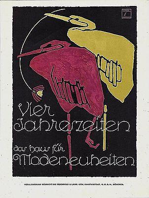 Original vintage poster print FOUR SEASONS FASHION BIRDS c.1920 Hohlwein