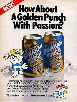 Golden Hawaiian Punch Passion Fruit Drink Mascot 1989 Vintage Print Ad