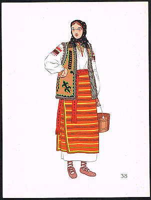 1930s Vintage Poland Hutzul European Polish Woman's Clothing Pochoir Art Print