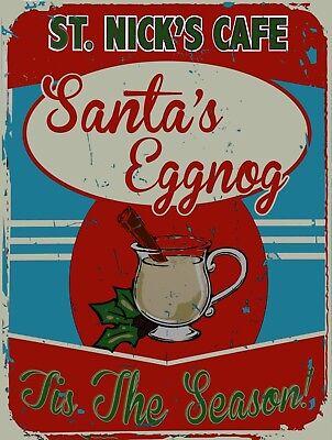 St. Nick's Cafe Eggnog Christmas Holiday Santa Winter Music Metal Sign](Halloween Eggnog)