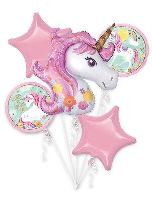 Magical Unicorn Balloon Bouquet ~ Girls Birthday Decorations Party Supplies 5pcs](Magic Birthday Supplies)