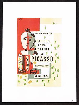 1980s Vintage Pablo Picasso Verve Suite 180 Dessins Harlequin Poster Art Print