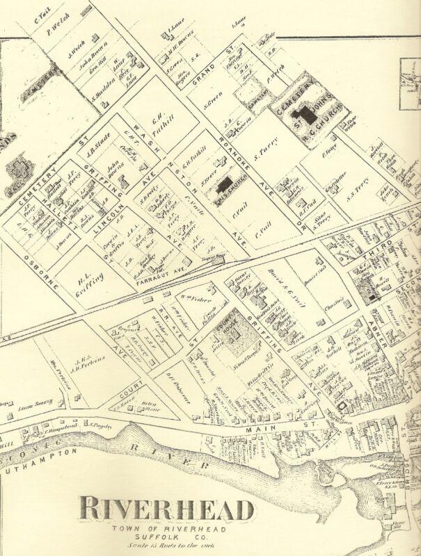 Riverhead Jamesport Aquebogue  NY 1873  Maps with Homeowners Names Shown