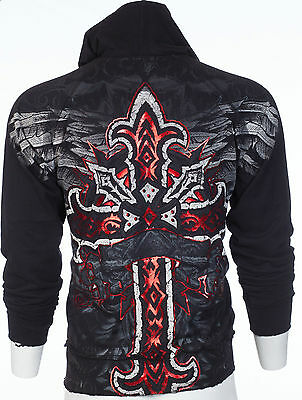 ARCHAIC by AFFLICTION Mens Hoodie Sweat Shirt Jacket RED FLAG Biker MMA UFC $78 ()