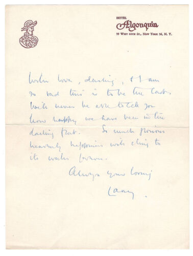 Sir Laurence Olivier Love Letter Signed circa 1960 / Autographed