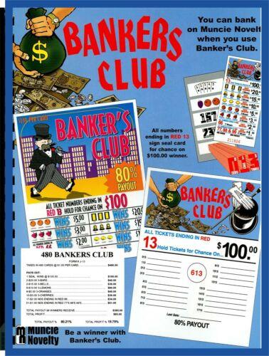 480ct 5W BANKERS CLUB seal card Bingo Pull Tab Tip Board  (1-$100) LS sign