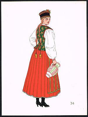 1930s Vintage Poland Kurpie Polish European Woman's Clothing Pochoir Art Print