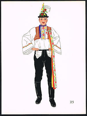 1930s Vintage Czech Slovakian Kyjova European Man's Clothing Pochoir Art Print