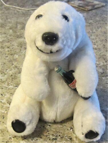 "Coca Cola Polar Bear With Coke Bottle White Stuffed Animals Collectible 1993 8"""