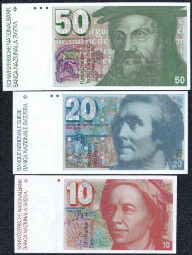 SWITZERLAND 10+20+50 FRANCS 1983 - 1990 UNC Banknotes