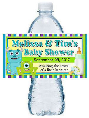 20 MONSTERS INC BABY SHOWER FAVORS PARTY FAVORS WATER BOTTLE LABELS (Monster Baby Shower)