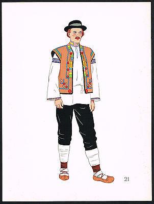 1930s Vintage Hutzul Slovakia Europen Peasant Man's Clothing Pochoir Art Print