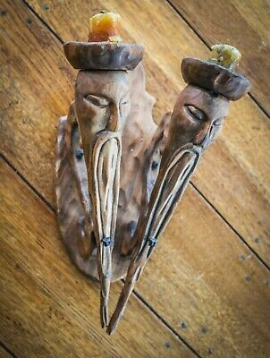 Vintage - Wooden Wall Hanging Candlestick Holders - Asian Wise Men - Hand Made