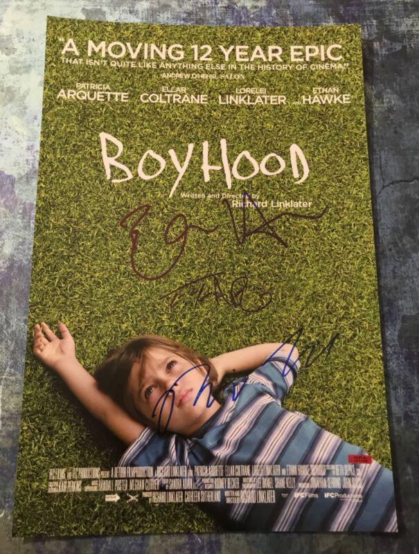 GFA Ethan Hawke, Coltrane & Linklater * BOYHOOD * Cast Signed 12x18 Photo COA