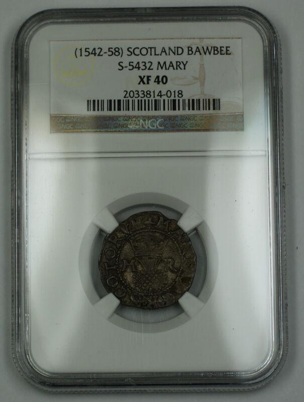 (1542-58) Scotland Bawbee Silver Coin S-5432 Mary NGC XF-40 AKR