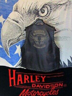 Harley Davidson Rare Vintage Black Leather Vest  Men's XL