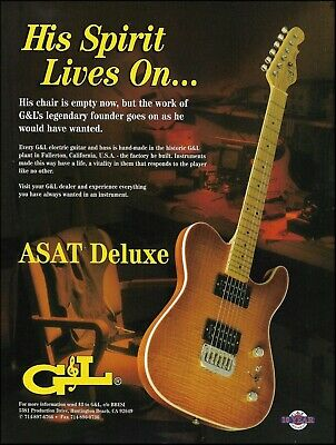 Used, G&L Leo Fender designed ASAT Deluxe guitar ad 8 x 11 advertisement print for sale  Shipping to Ireland