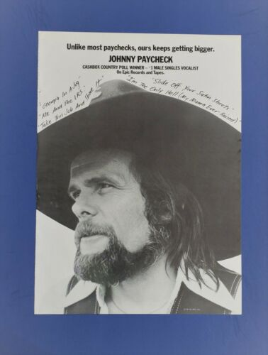 Original 1978 JOHNNY PAYCHECK Large PROMO Rare Trade Ad