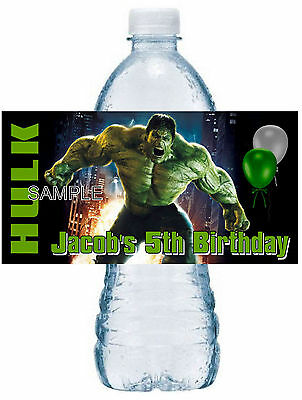 20 INCREDIBLE HULK BIRTHDAY PARTY FAVORS Water Bottle Labels - waterproof ink - Hulk Party Favors