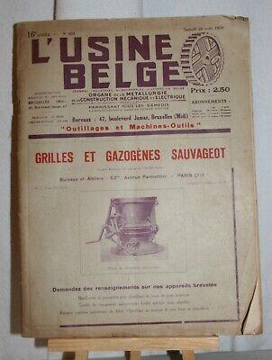 ANCIENNE REVUE L'USINE BELGE DE 1939.