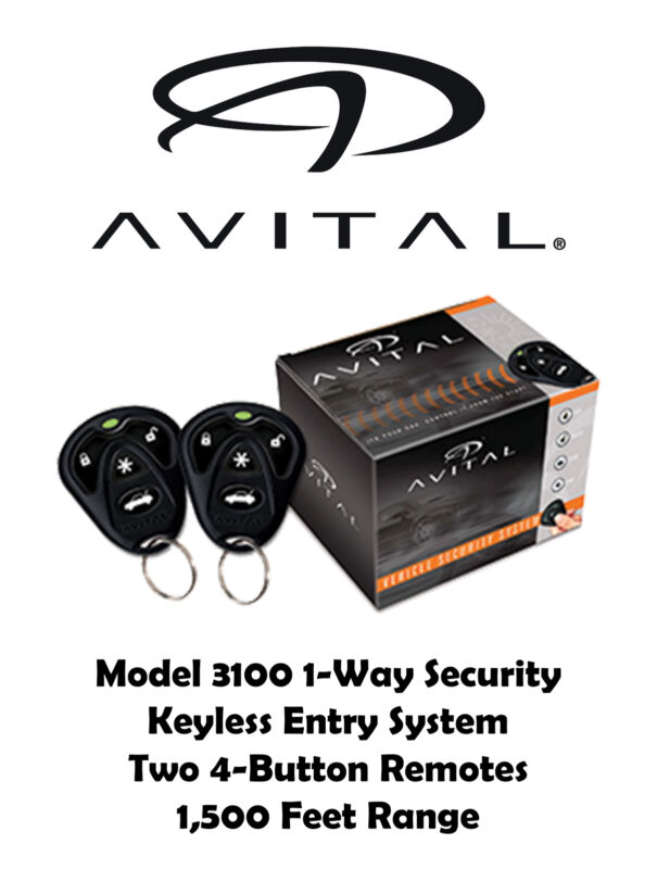 Avital 1 Way Security System 3 Channel Security/Keyless Entry System AV-3100L