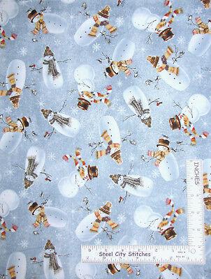 Christmas Snowman Bird Winter Snow Cotton Fabric QT Woodland Friends By the Yard