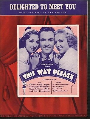 Delighted to Meet You 1937 Buddy Rogers Betty Grable This Way Please Sheet Music