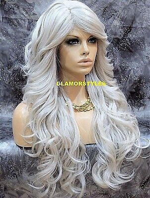 Long Wavy Layered With Bangs Silver White Full Synthetic Wig Hair Piece Heat Ok - Long White Wig With Bangs