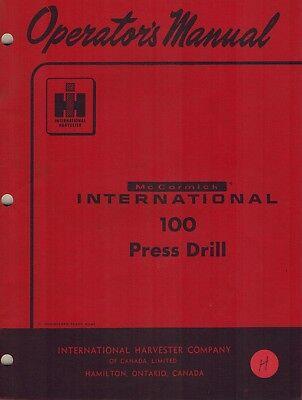 International Vintage 100 Press Drill Operators  Manual New 1964