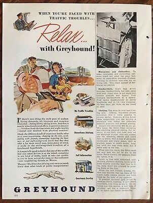 Greyhound bus lines ad 1948 orignl vintage 1940s retro art illustration print