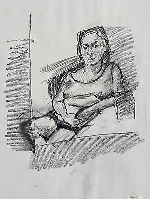 """Michael Steiner, """"Woman Series #9"""", Charcoal, 24""""h x 18""""w image"""