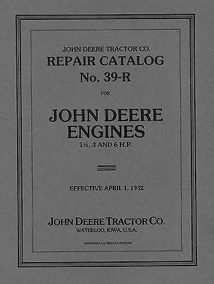John Deere 1 3 And 6 Hp Repair Catalog No. 39-r