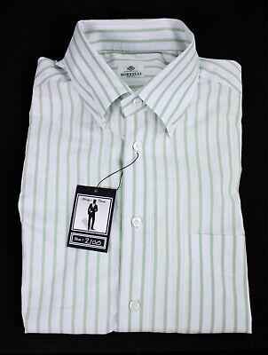 "Borrelli Napoli Men's Dress Shirt Button Down Collar e42 US 16.5"" Green Striped"