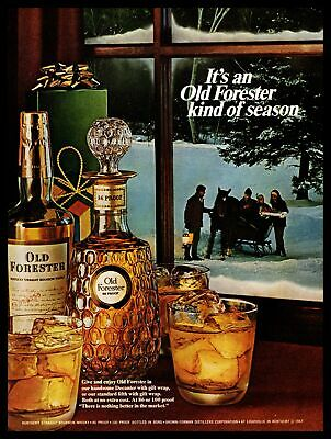 1967 Old Forester Kind Of Season Horse Sleigh Christmas Whisky Decanter Print Ad