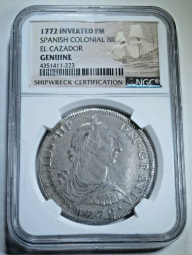 NGC 1772 Inverted FM El Cazador Shipwreck 8 Reales 1700s Pirate Treasure Coin