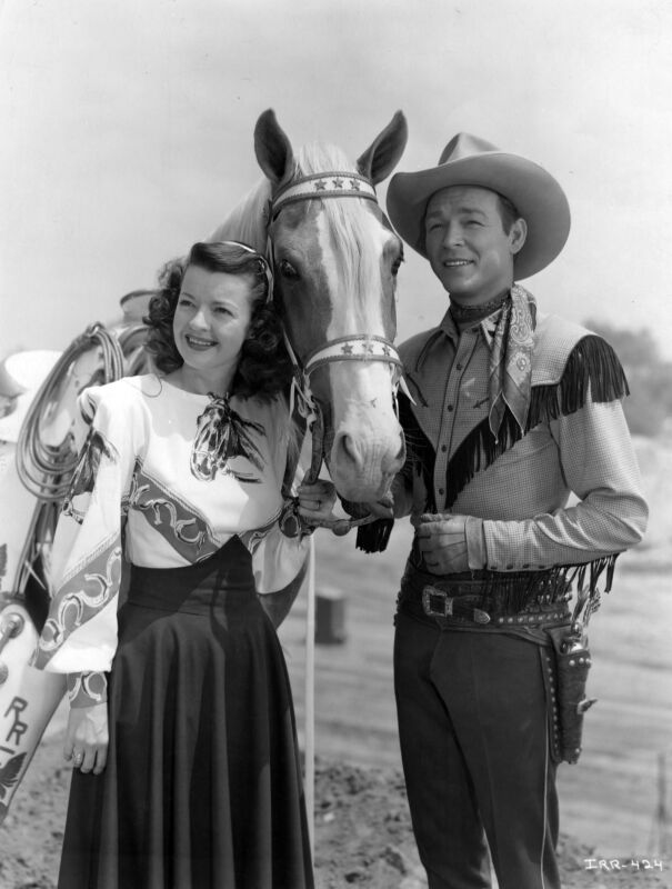 Roy Rogers Dale Evans And Trigger Black And White  8x10 Photo Print