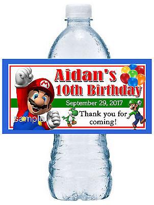 20 SUPER MARIO BROS. BIRTHDAY PARTY FAVORS WATER BOTTLE LABELS ~ waterproof ink - Mario Bros Birthday Party