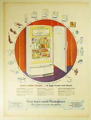 Vintage 1948 WESTINGHOUSE REFRIGERATOR Large Full Page Magazine Print Ad