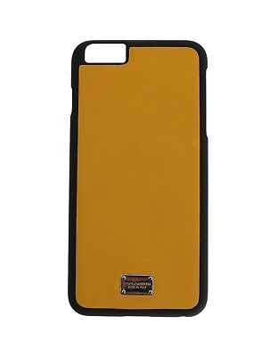 NEW $150 DOLCE & GABBANA Phone Case Skin Yellow Silver Logo Leather iPhone6 Plus