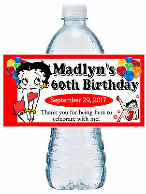 20 BETTY BOOP BIRTHDAY PARTY FAVORS ~ WATER BOTTLE LABELS  waterproof - Betty Boop Birthday