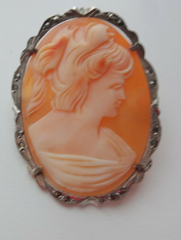 Victorian Intricate Marcasite Frame Shell Cameo Lady 800 Silver Brooch Pendant