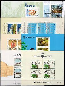 Portogallo-Azzorre-Lotto-di-8-foglietti-Europa-1981-88-Nuovi-MNH