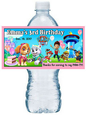 20 ~ PAW PATROL BIRTHDAY PARTY FAVORS FOR GIRLS WATER BOTTLE LABELS  (Girls Birthday Party Favors)