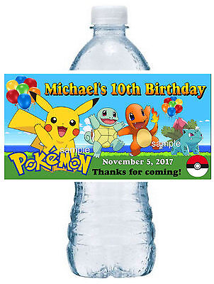 20 POKEMON BIRTHDAY PARTY FAVORS WATER BOTTLE LABELS ~ waterproof ink - Pokemon Birthday Favors