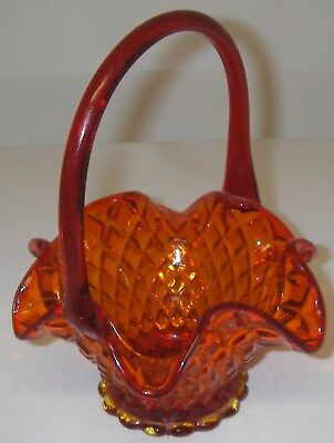 Collectible Glass BASKET Diamond Cut Amberina  Applied Handled Scalloped 8""