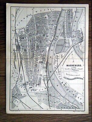 alter Stadtplan von Magdeburg Sachsen Anhalt Elbe Baedeker 1889
