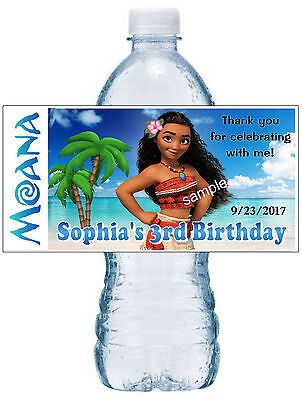 Disney Birthday Parties (20 DISNEY MOANA BIRTHDAY PARTY FAVORS WATER BOTTLE LABELS ~ waterproof)