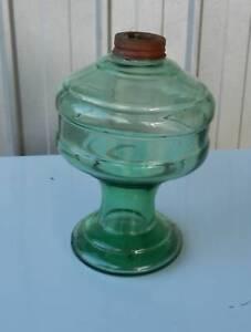 Kerosene Oil Lamp base and Font Green Glass VINTAGE