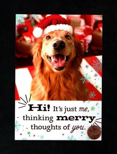 CHRISTMAS Golden Retriever Dog Santa Hat RED SHINE - Greeting Card W/ TRACKING