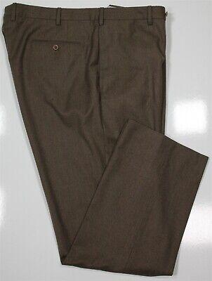 INCOTEX Brown Fleece Super 120's Wool Flat Front Dress Pants 40 x 31
